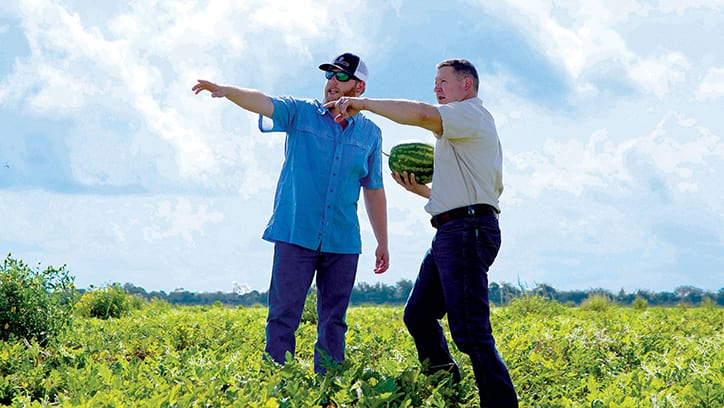 Employee and customer pointing with watermelon field.