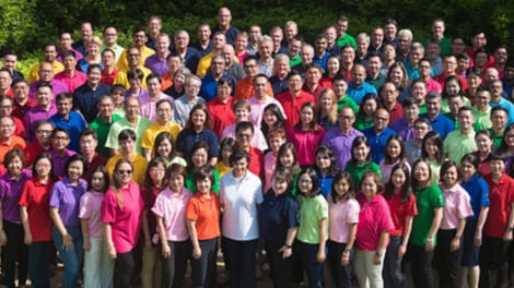 Connell employee group photo in garden.