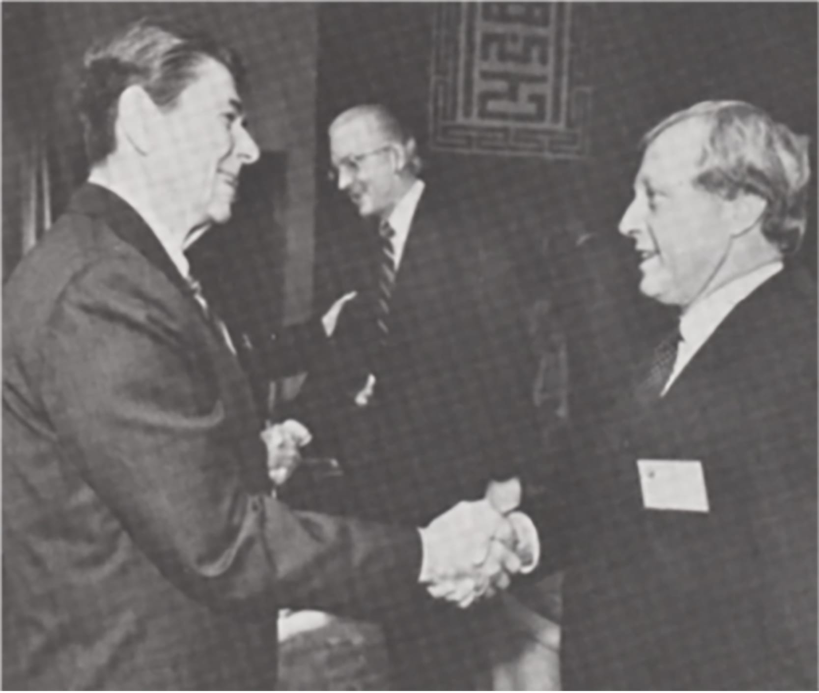 Connell executive Dave Seldon, right, with U.S. President Ronald Reagan.