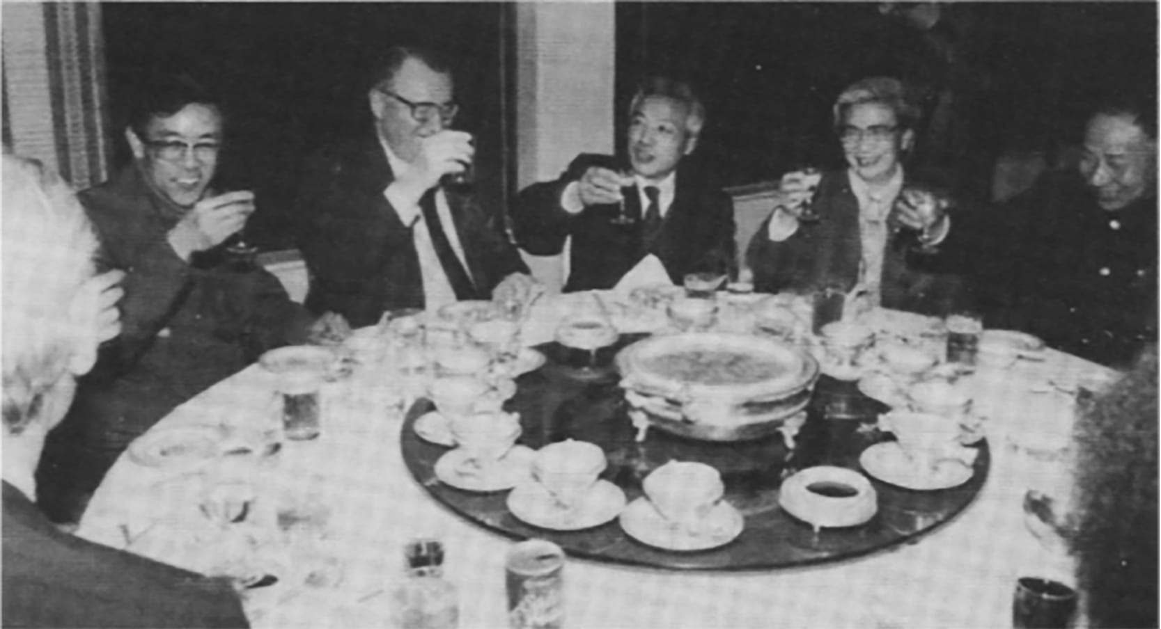 Company leaders, including Connell head Paul O'Leary (second from left), and government dignitaries celebrated Connell's return to Shanghai, China, in 1986.