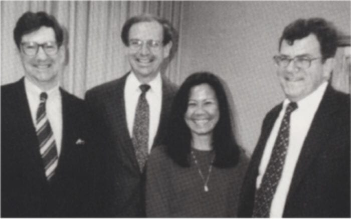 At the 1995 signing of the contract to create the WILFARM joint venture were, from left: CEO Brayton Wilbur Jr., Controller Bob Pantzer, Manager of Human Resources Ofelia Uriarte, and VP and Treasurer Herb Tully, who would become CEO in 2000.