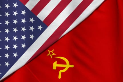 U.S. and Russian flags.