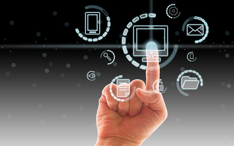 Digital data with hand.
